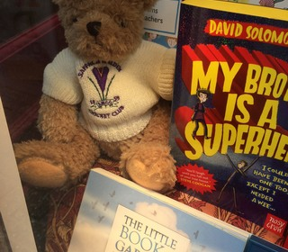 This Crocus Bear is going to read about Bird Songs in Harts Bookshop