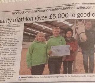 Charity Triathlon 2016 - cheque presentation