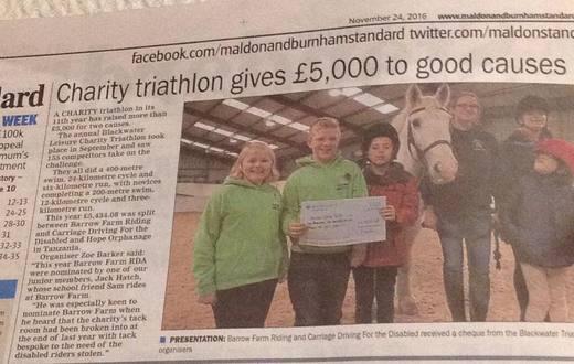 Charity Triathlon 2016 - cheque presentation