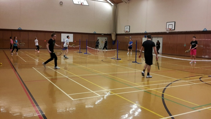 Indoor soft tennis in Keswick School sports hall