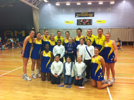 Our ball girls with Team Bath players