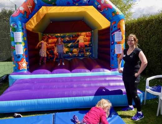 Our Super Welfare Officer Sarah managing the bouncy castle