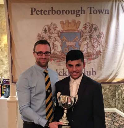 Mohammad Saif, right, receiving one of his two awards for the 2017 season from Sunday 1st XI skipper Jamie Smith