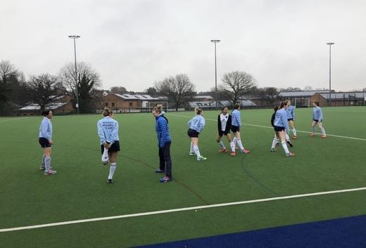Ladies XI warm up vs Staveley HC