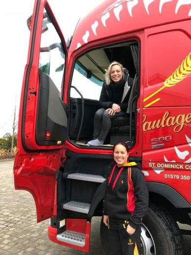Kate had a memorable journey to the match in a truck supplied by our sponsors Burcombe Haulage. Pictured here with Caradon Chair and Burcombe Haulage Director, Carina Hodge (Photo: Nicola Batten)