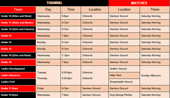 Summer Training and Matches Timetable