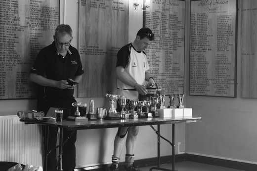 Chris Odgers and Matt Shanks sort the trophies