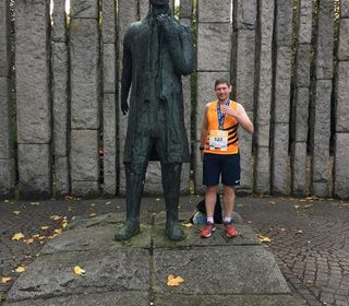Adam at the Dublin Marathon