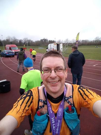 Chris at the Groundhog Marathon 105.5 laps of a track in Telford