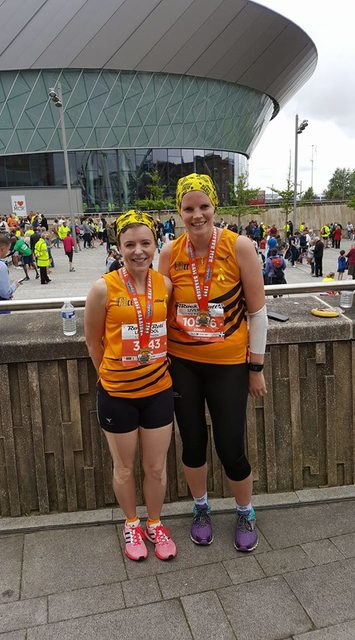 Claire and Zoe at the Liverpool Rock and Roll Half Marathon