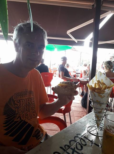 David in Lanzarote partaking in an obligatory chip cob European style