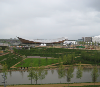 Across the park to the velodrome