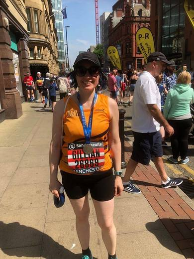 Gillian at the Manchester Half Marathon