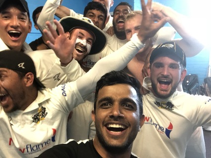Dressing room PTCC team selfie after an astonishing win