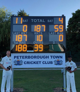 PTCC's National Cup heroes: Kieran Jones and Danny Malik in front of the Wycombe final score at the Dalrod Sports Ground