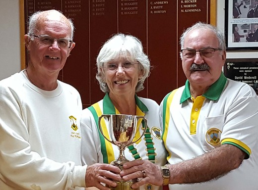 Pairs winners Roy Kirkham and Alan Lewis with president Kate Herbison