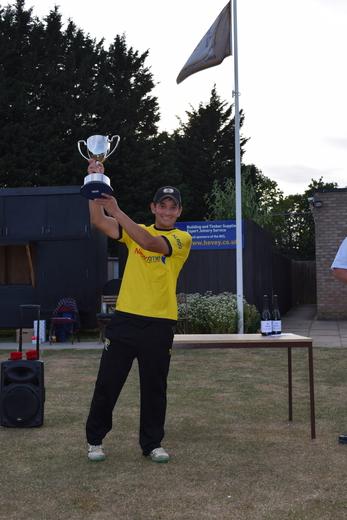 David Clarke lifts the NCL T20 Championship trophy