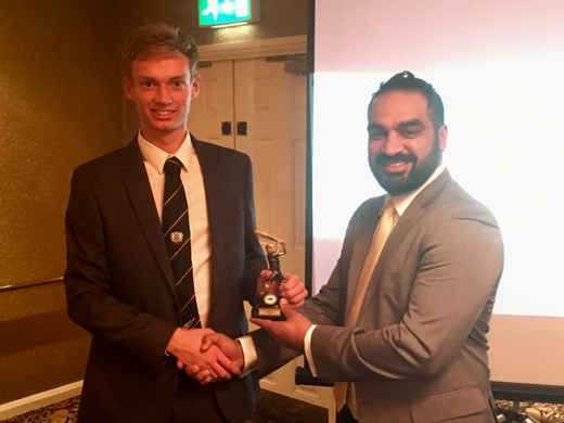 Sat 2nd XI Player of the Season - keeper-batsman Scott Howard, l, with skipper Balaji Ganesan