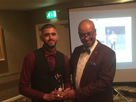 3rd XI Player of the Season - bowler Sufyaan Iqbal, l, with skipper Bob Milne