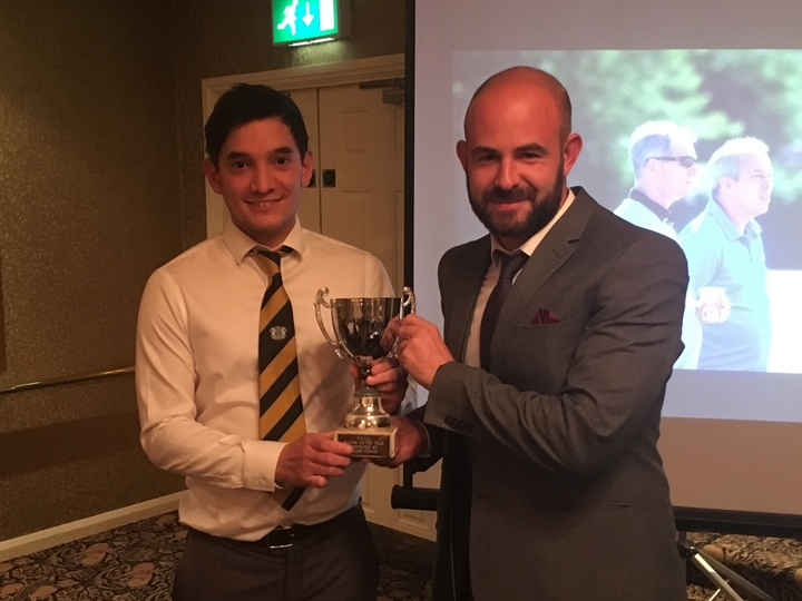 Sat 1st XI Player of the Season - off-spinner Matt Milner, r, with skipper David Clarke