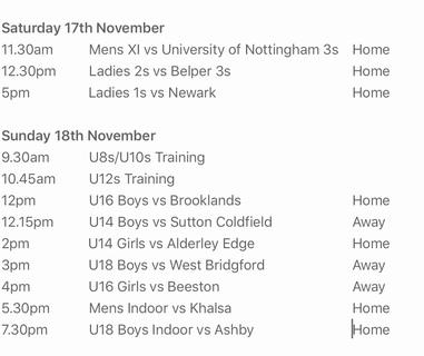 Schedule 17th/18th November