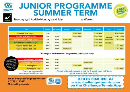 Summer Junior Timetable 2019