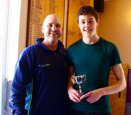 Stuart Bader presents Tom Shanks with 3rd Team Player of the Year