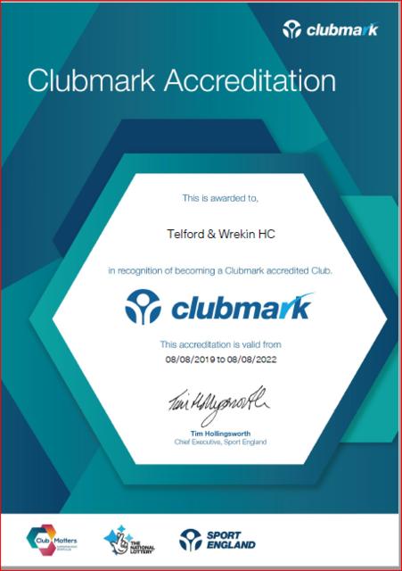 Clubmark certificate