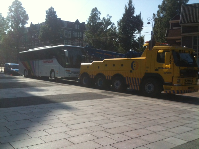 The only casualty - damaged coach being towed away