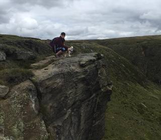 One woman and her dog - on Dog Rock