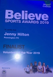 Jennie Hilton 3rd place Volunteer of the year