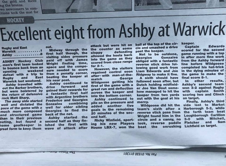 EXCELLENT EIGHT FROM ASHBY AT WARWICK