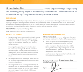 Hockey Club Commitment to Safeguarding