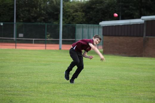 Caerwyn doing some great fielding, attacking the ball.