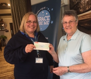 Sue presented Fiona Pender, Space2beme, with a cheque for £1,500 for the charity from PW Golf Club