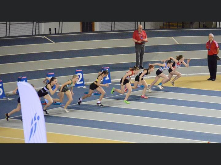 Scottish National Indoor Championships - U13 60m Hurdles Final - Holly Whittaker and Lexi Grant