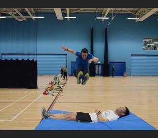 MSC indoor training - Kyle flying high as Andrew takes a nap!