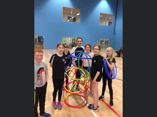 MSC indoor training - Theresa's group running hoops round everyone!