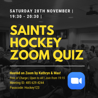 Saints Hockey Zoom Quiz | Saturday 28th November 2020