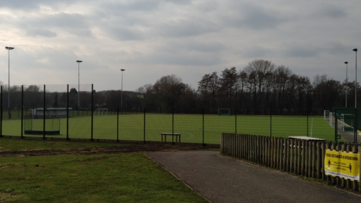 The finished pitch with lines added and goals back on