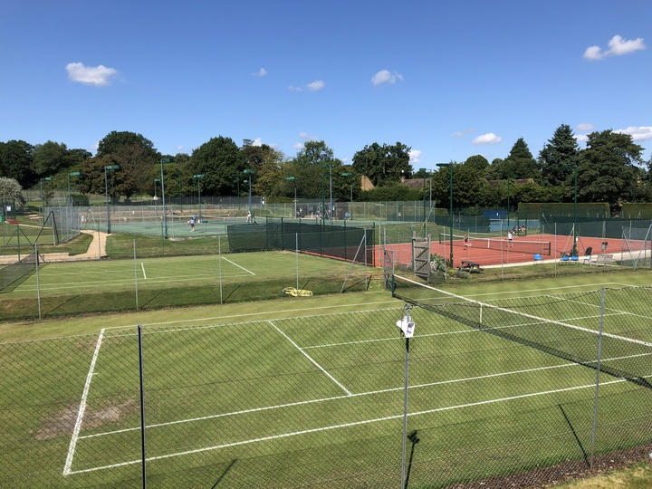 """View from the clubhouse across our grass courts toward the """"middle"""""""