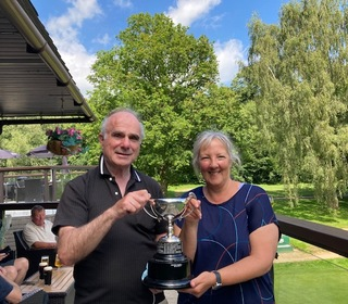 Winners of Alethea Holman Mixed Greensomes - Jan Parfett & Richard Thomson with 41 points