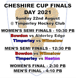 Cheshire Cup schedule 22 Aug