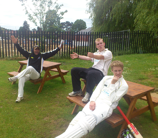 Bash, Mitch and Marcus taking it far too seriously for the Saturday 2nds.