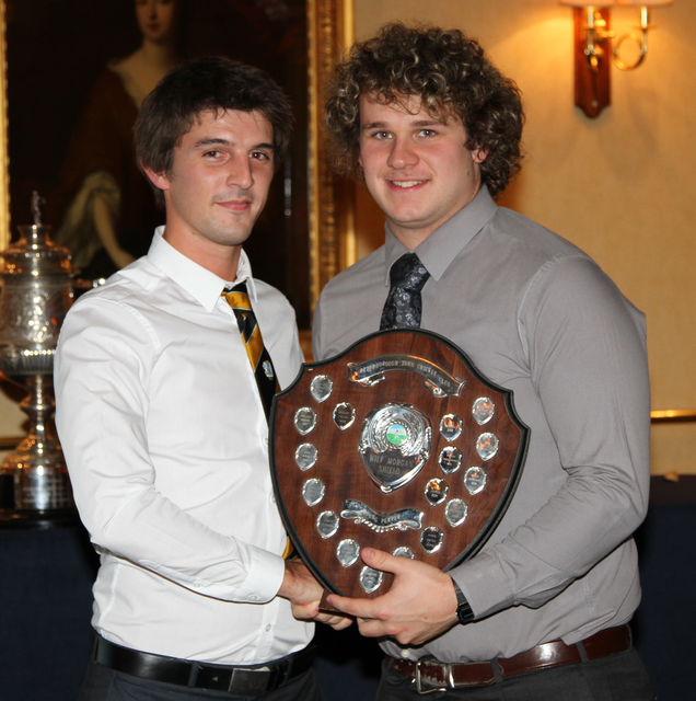 1st XI captain for 2013 Lewis Bruce presents Callum French with Young Player of the Year award