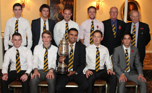 Members of the 1st XI with the Northants League Premier Division trophy.