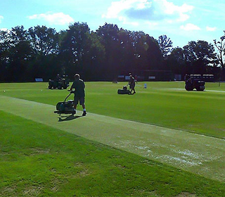 BCC's superb Groundstaff prepare the OCG wicket for battle with the mighty Lashings World XI