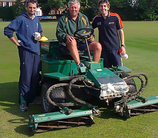 Left to Right: Ian Belchamber, Steve West, Ryan Barker. Ian, Ryan and Dave (Berry) slept in the beer tent the night before the match. Steve woke them early the morning of the match with his mower!
