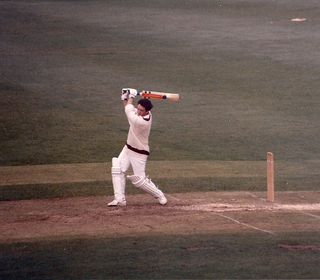 By this stage of the innings, Fomesy was seeing it like a proverbial football.  This photograph was taken from the pavilion balcony at the Mote
