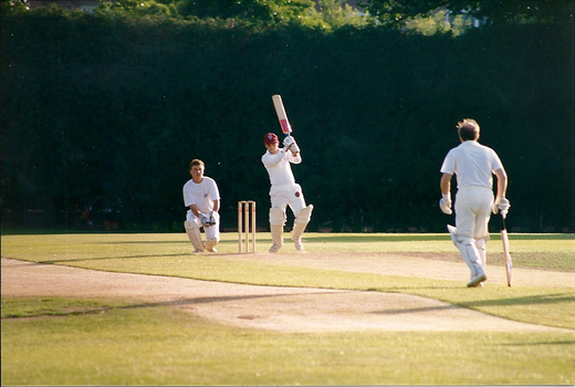 Come one, Roger!  Mouse hits one straight off the back foot.  Danny Hazle watches on behind the stumps...